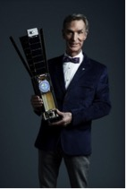 Bill Nye holding a 3U LightSail CubeSat model