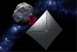 Artist concept of NASA's Near Earth Asteroid Scout solar sail mission