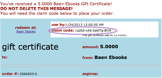 Ebooks faq your gift card redemption code is the alphanumeric claim code found in the upper right hand corner of the gift certificate email fandeluxe Image collections
